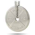 Women's Stainless Steel Weight Plate Necklace-Joshua 1:9