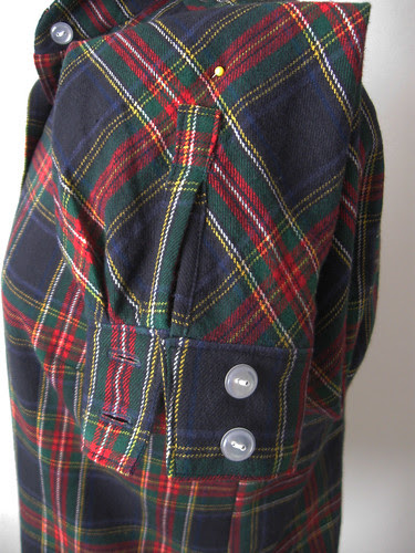 Plaid shirt sleeve placket