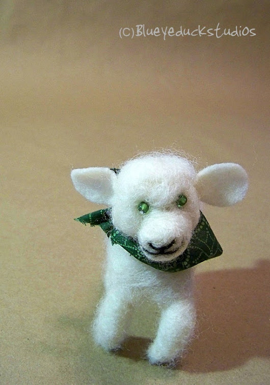 Adorable Simon the Lamb needle felted wool by blueyeduckstudios