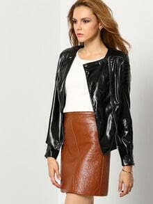 Black Zipper PU Leather Jacket