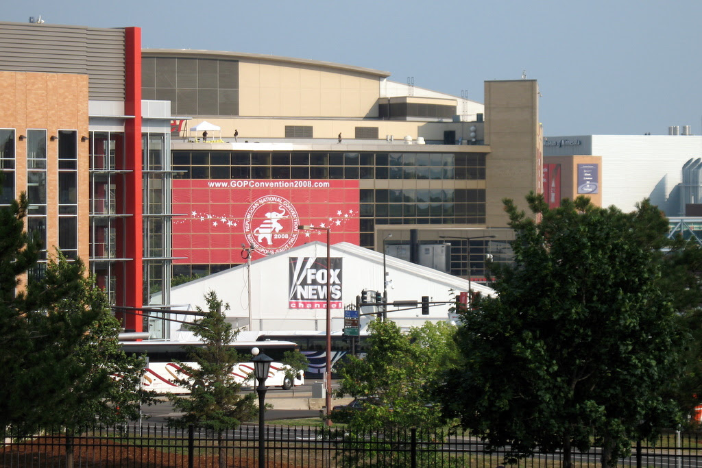 distant photos of the republican national convention 2008, from the outside looking in.