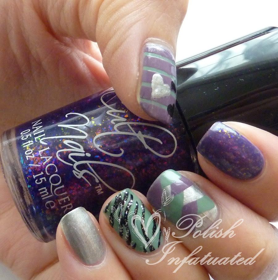 purple&green nail art mash3