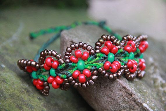 summer beaded  tribal macrame flower hippie bracelet