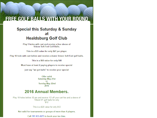 Free balls with your round this weekend! - Healdsburg Golf Club