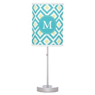 Monogrammed Aqua Lemon Diamonds Ikat Pattern Table Lamp