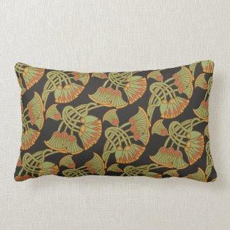 Egyptian Lotus and Papyrus on Black Lumbar Pillow