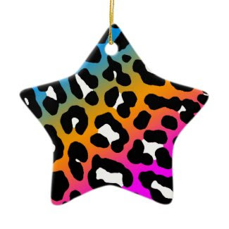 Corey Tiger 80s Retro Leopard Print Star Ornament ornament