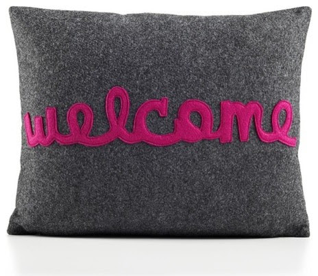 Welcome Decorative Pillow - modern - bed pillows - - by AllModern