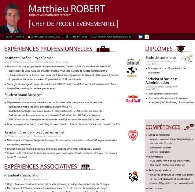 resume format  pr u00e9sentation cv chef de projet