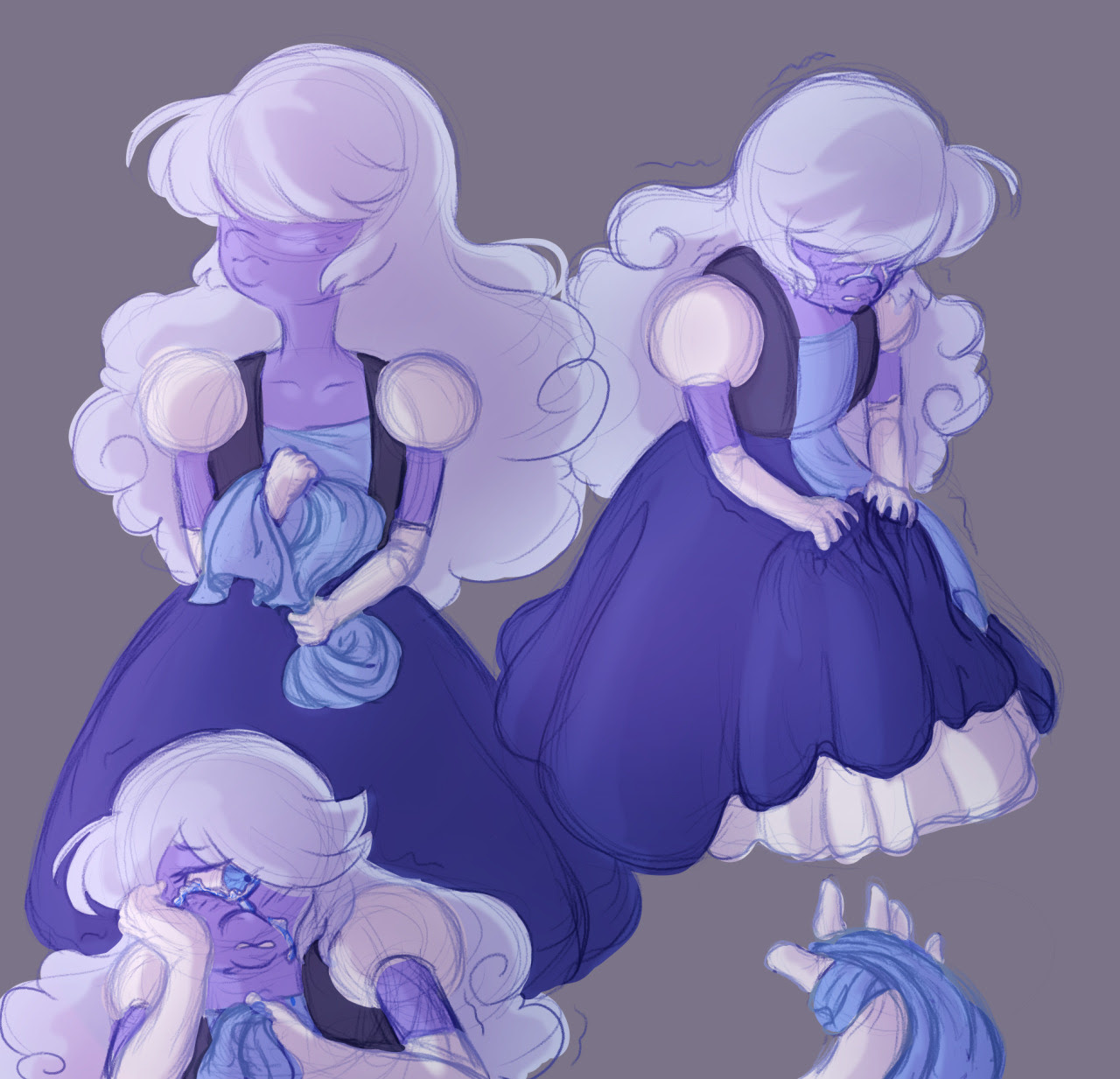Practicing how fabric folds and introducing a Sapph headcanon in one go! I like to think she fiddles with her dress/fabric in general when she's stressed. It was probably fairly prominent after she...