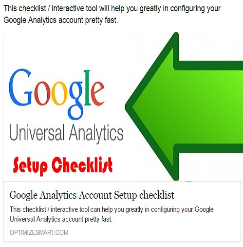 Google Analytics Setup checklist - OptimizeSmart