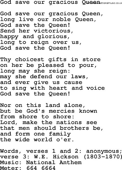 English National Anthem Lyrics God Save The Queen