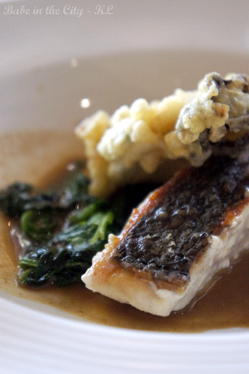 Fried Mullaway Seabass with Beignet Oyster Cepe Mushroom Sauce