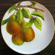 Golden Yellow Green Pears Branch Leaves Decorative Plate