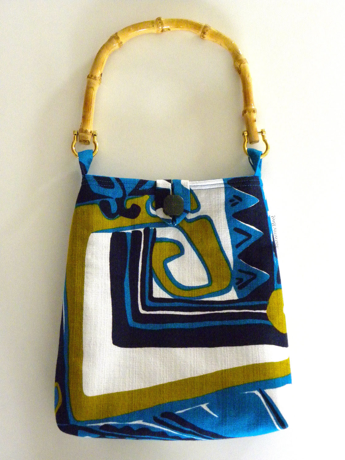 Front View – Evening Out Bag – Vintage Turquoise Blue Abstract Tiki Barkcloth