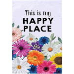 Juvale Garden Flag – Happy Floral Flag Banner, Everyday Outdoor Lawn Decoration, Flowers Typography Design, Double Sided Printed, 12.5 x 18.5 Inches