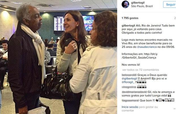 Gilberto Gil postou foto após receber alta no Hospital Sirio-Libanês (Foto: Reprodução/Instagram/Gilberto Gil)