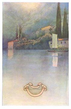 Italian Villas and Their Gardens: Villa Pliniana by Edith Wharton illustrated by Maxfield Parrish, ca.1904. Published by Century Company, 1907