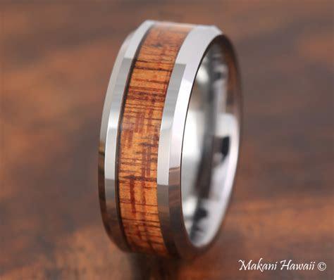 Koa Wood Tungsten Hawaiian Mens Wedding Ring 8mm TUR377   eBay