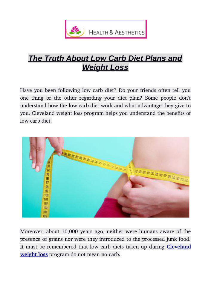 The Truth about Low Carb Diet Plans And Weight Loss ...