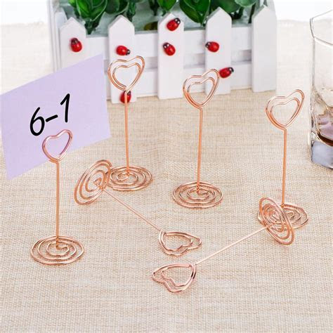 12pcs Rose Gold Heart Shape Photo Holder Stands Table