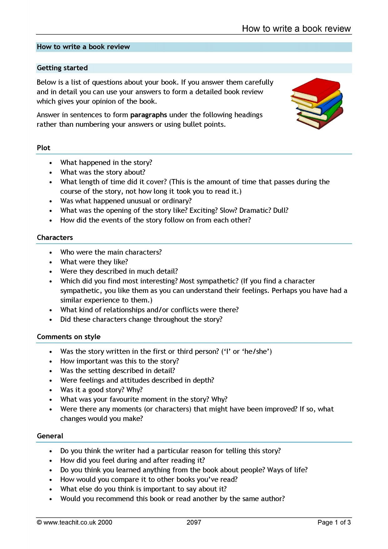 how to write a review essay on a book
