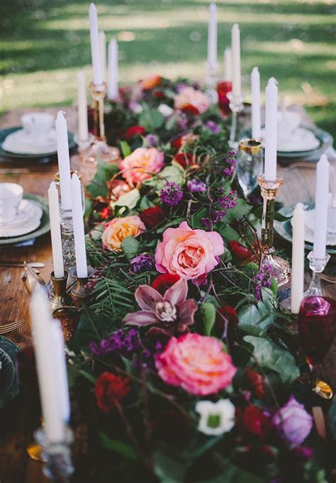 cake flowers rose dark romantic wedding table styling