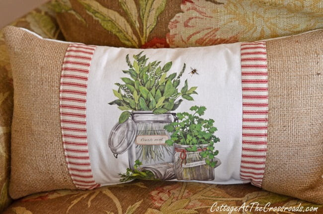 burlap and herb pillow | Cottage at the Crossroads