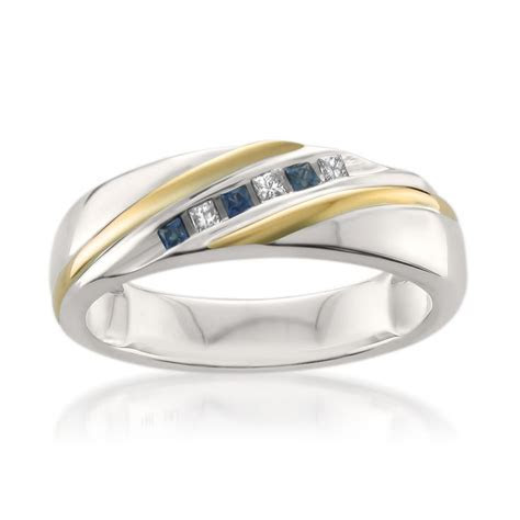 14k Two Tone Yellow Gold Princess cut Diamond & Sapphire