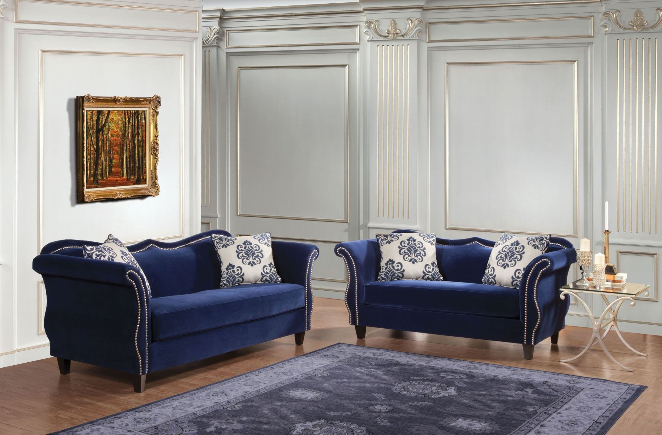 Zaffiro Royal Blue Living Room Set, SM2231-SF, Furniture ...