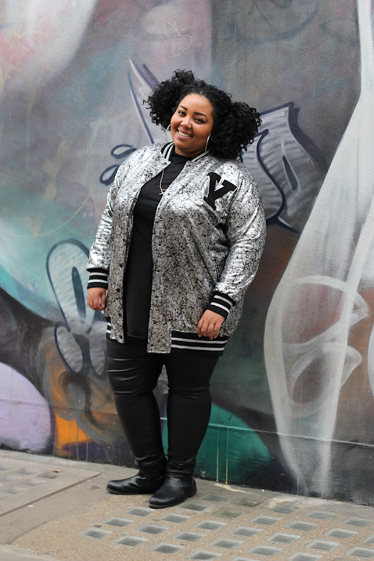 A hot varsity jacket for curvy, voluptuous, plus size women with confidence