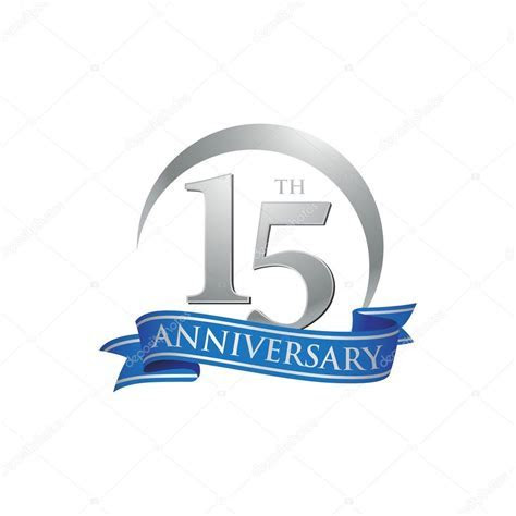 15th anniversary ring logo blue ribbon ? Stock Vector