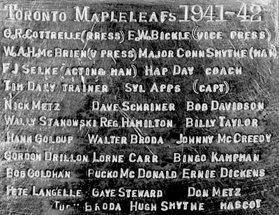 Maple Leafs 1942 engraving, Maple Leafs 1942 engraving