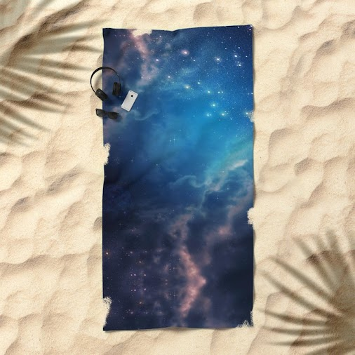 25% off this item today with code NOV25!  Space background of blue color Beach Towel  https://society6...