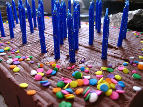 glittery blue candles!