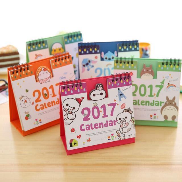 New 2017 Diy Print Panda/Totoro/Rabbit Desk Calendar Desktop To Do ...