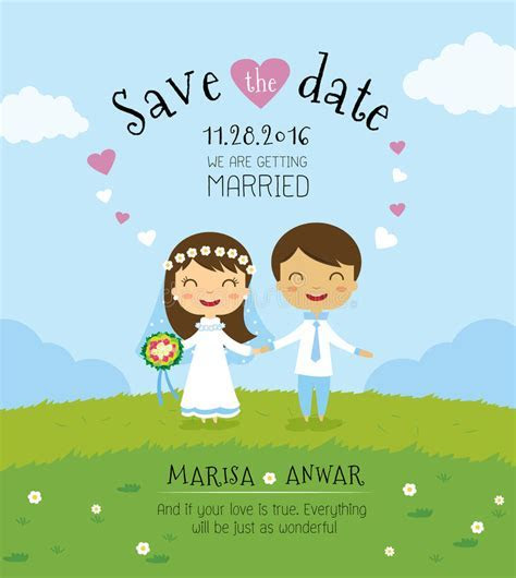 Cartoon Wedding Invitation Card Template Stock Vector