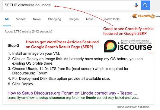 How to get your WordPress Article Featured on Google Search Result Page (SERP)? - SEO Tips • Crunchify