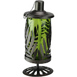 "9.8"" Green and Brown Leaf Shaped Frame Oil Lantern with Wick Cover by Christmas Central"