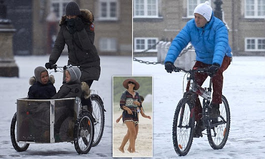Princess Mary braves the snow to cycle her children to school