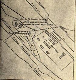 Mapa de Bagdad en 1931, muestra la ubicación de Guru Nanak del santuario. Se trata de una milla a la derecha del río Tigris y una milla y media de la estación de tren oeste de Bagdad, entre las dos ferroviarias lines.Image girado 90 grados en forma el documento fuente