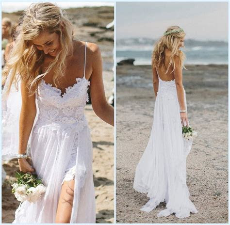 Beach Wedding Dress Low Back   Dresscab