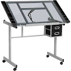 Best Choice Products Adjustable Drafting Table with Tempered Glass and Shelves, Silver/Black