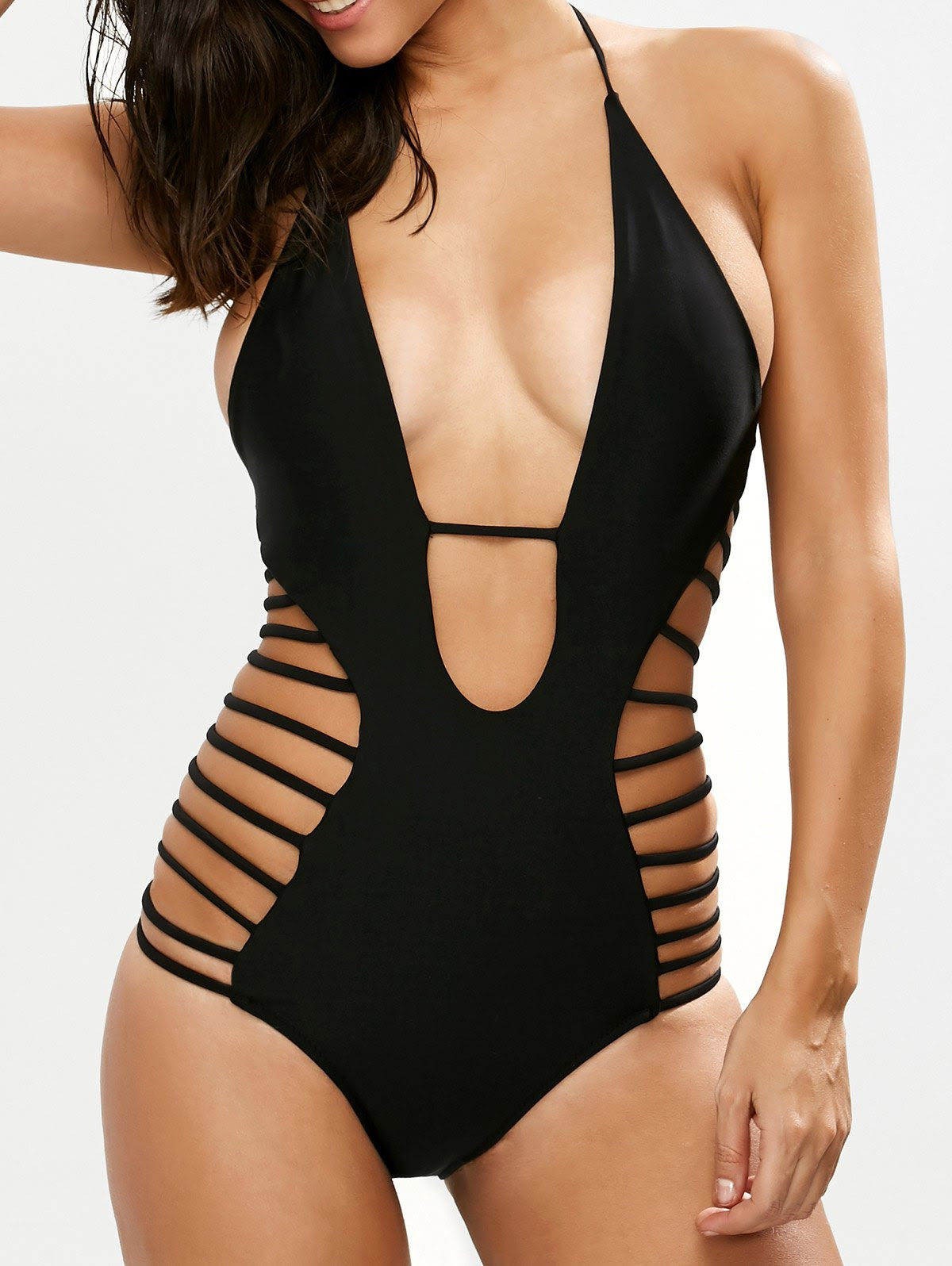 Side Cutout Plunge Swimsuit