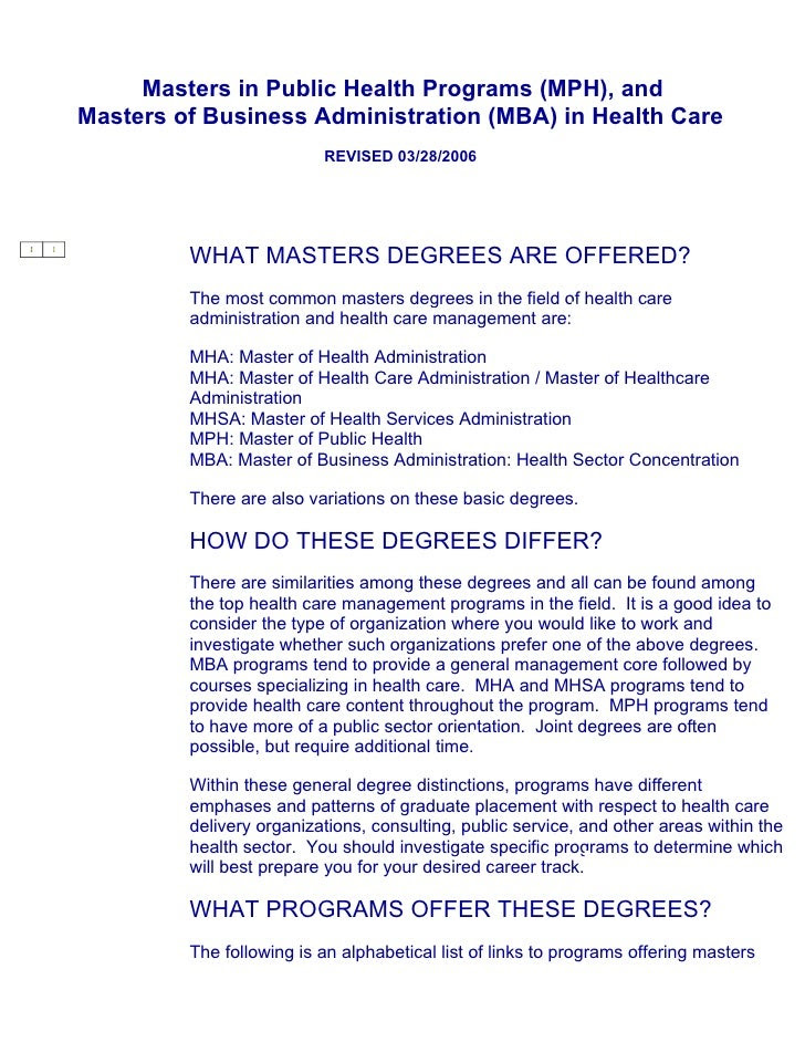 Masters in Public Health Programs