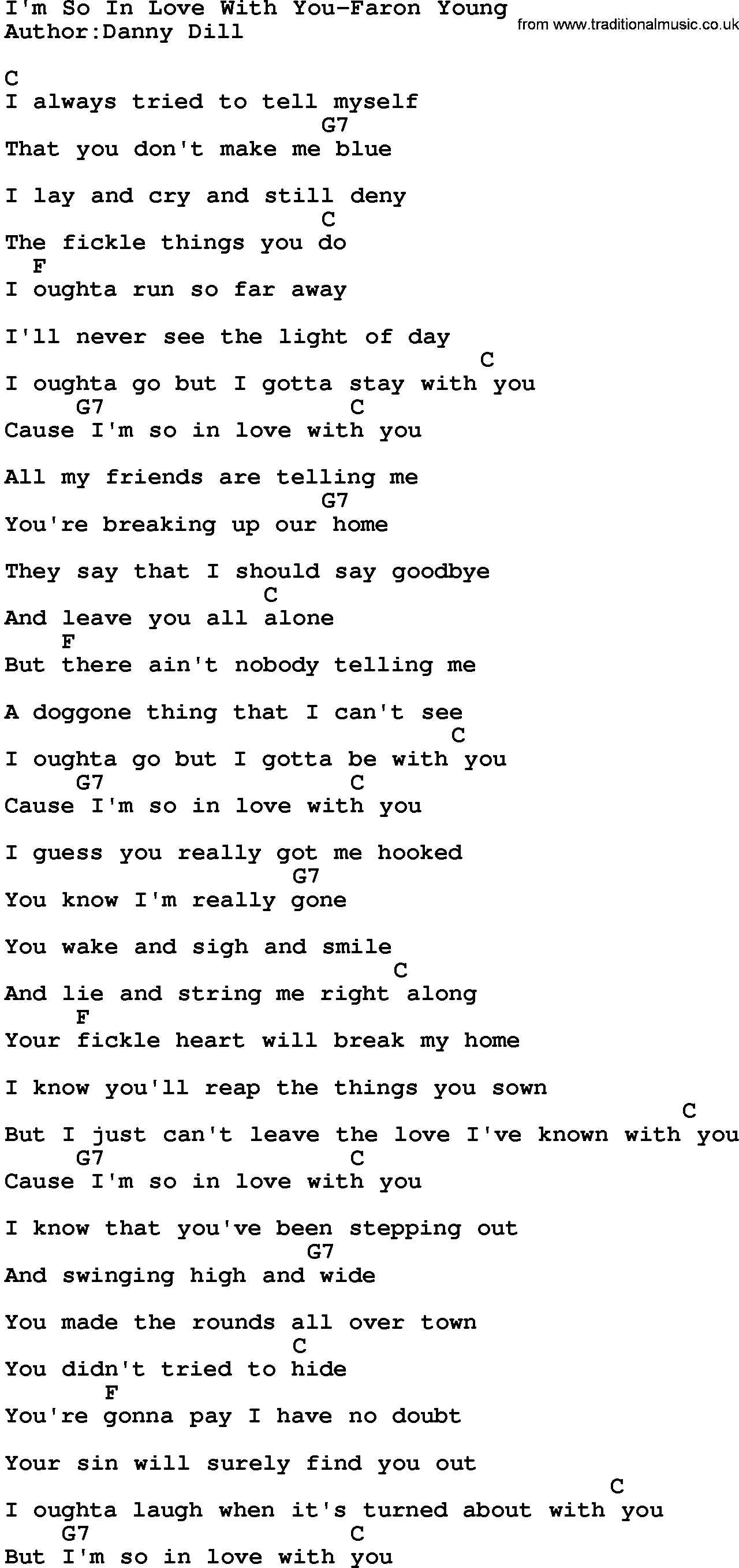 Country Musicim So In Love With You Faron Young Lyrics And Chords