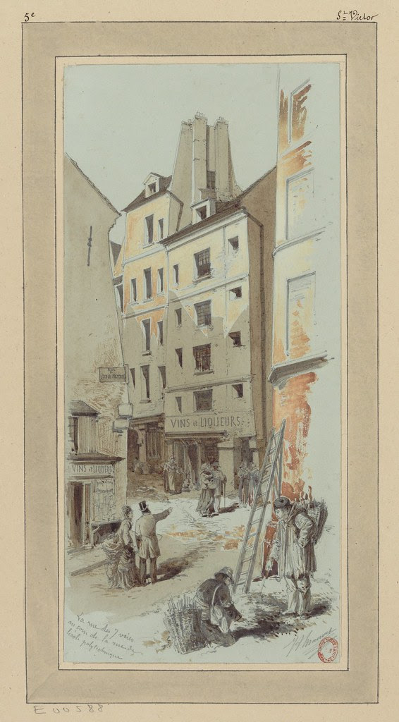 watercolour & pen sketch of street scene near Paris polytechnical school in 1880