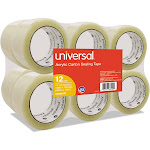 "Universal General-Purpose Acrylic Box Sealing Tape 48mm x 100m 3"" Core Clear 12/Pack 66100"