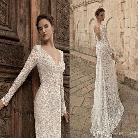 Vintage Long Sleeve Lace Wedding Dresses 2015 Plunging
