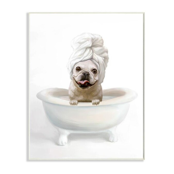 Stupell Industries Stupell Industries Bathroom Relaxation House Pet Terrier Claw Bath Design Wall Plaque Art By Ziwei Li 10 X 0 5 X 15 In The Wall Art Department At Lowes Com